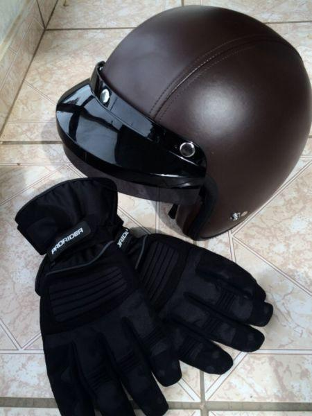 Learher&canvas bike gloves and leather look 'Airborne' bike helmet!