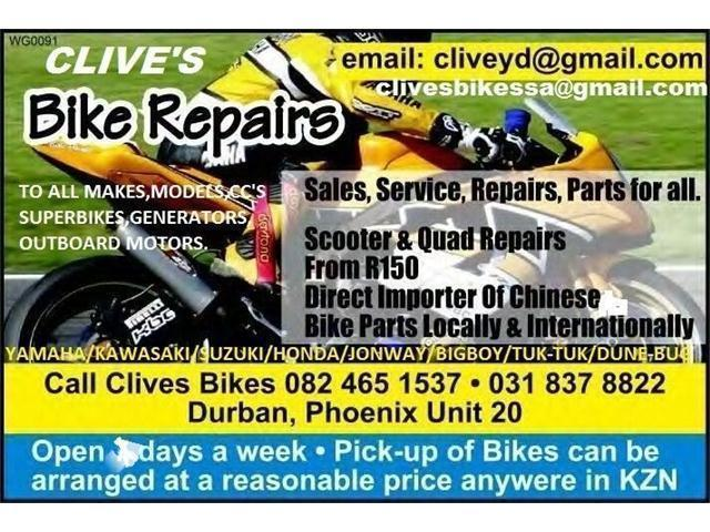 SAME DAY REPAIRS/SERVICES DONE REASONABLE PRICES @CLIVES BIKES