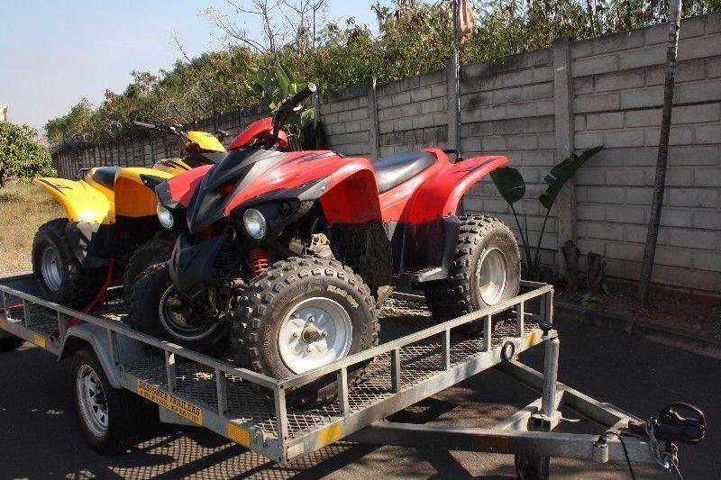 2 x adly 150cc quads with trailer