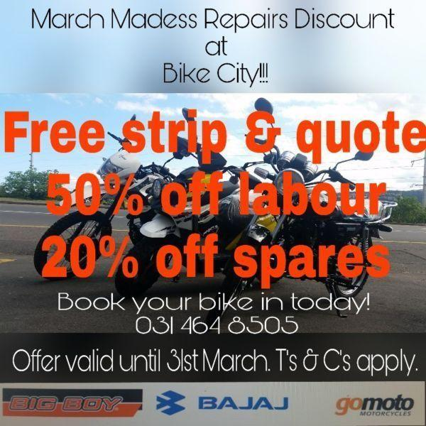March Madness - Repairs Discount at Bike City!